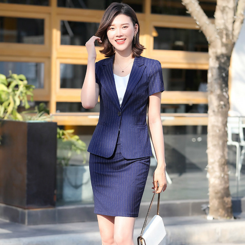 High Quality Women's Business Wear 2020 New Summer Striped Office Ladies Blazer Jacket Feminine Skirt Casual Trousers Two-piece