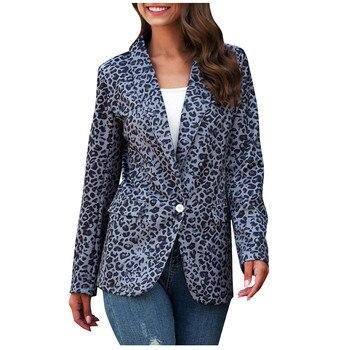 FREE OSTRICH Women Leopard Print Button Blazers And Jackets Work Office Lady Cardigan Suit Slim Business Female Blazer Coat