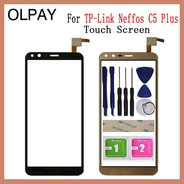 """OLPAY 5.34 """"מגע מסך עבור TP קישור Neffos C5 בתוספת מגע מסך Digitizer פנל קדמי זכוכית עדשת חיישן כלים דבק + מגבונים"""