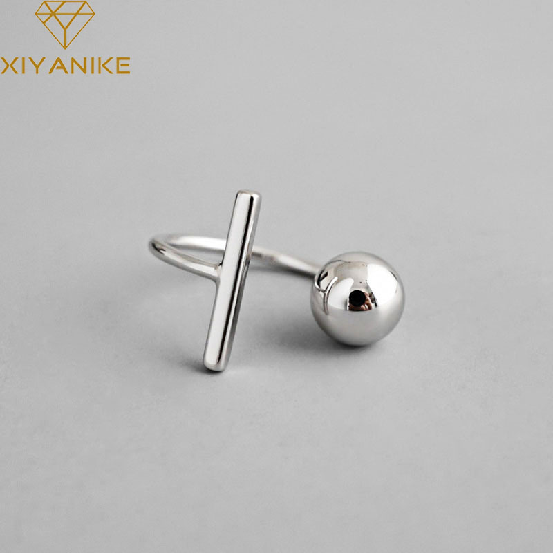XIYANIKE 925 Sterling Silver Simple Geometric Round Rings Wedding Jewelry Adjustable For Men Women Gifts Size 18mm Adjustable