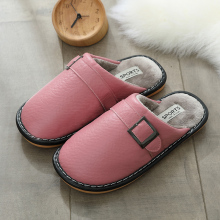 Women House Slippers Plush Winter Warm Shoes Woman Comfort Leather Bedroom Couple for Indoor Use