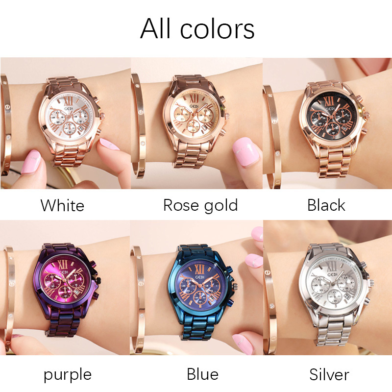 Luxury Rose Gold Women Casual Watch Waterproof Calendar Unique Quartz Business Dress Watches for Female Golden Lady Clock 6