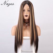 NNZES 24&30inches Long Straight Wig Mixed Dark Brown and Blonde Color Synthetic Wigs for Black Women Middle Part Wig