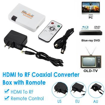 2019 New Audio & Video Cables US-HDMI To RF Coaxial Converter AV Adapter Box W/ Remote Control