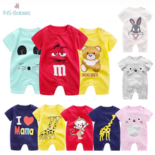 2020 Summer Boys And Girls Fashion Ha Cloth Newborn Baby Climbing Clothes Brands Baby Girl Romper Infant Animal Costumes Pajamas cheap OrangeMom COTTON cartoon O-Neck Covered Button Rompers Unisex Short Fits true to size take your normal size