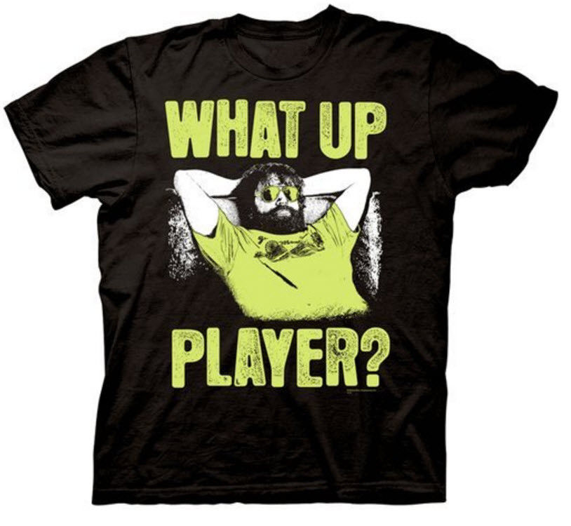 Adult Black Comedy Movie The Hangover Part III Alan What Up Player T-shirt Tee Print T Shirt O-Neck Short image
