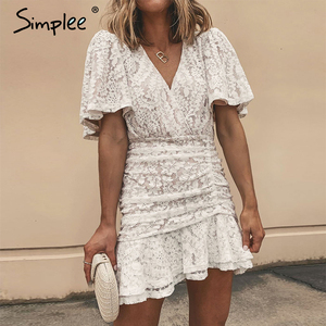 Image 2 - Simplee Women summer lace dress Sexy v neck floral summer cotton white dress A line ladies chic spring drawstring party dress