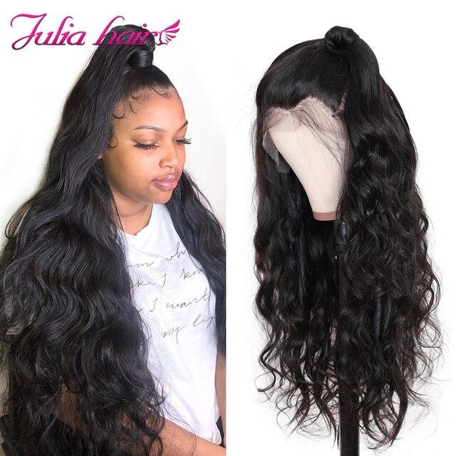 Brazylijska koronkowa peruka na przód ciało fala Remy 13x4 koronkowa peruka na przód wstępnie oskubane włosy dla dzieci Julia 13x6 głęboka częściowo koronka przodu peruka z ludzkich włosów