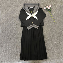 S-XXXXXL primavera outono japonês jk define estudantes uniformes escolares trajes cosply preto 60cm saia marinheiro ternos uniforme menina longo