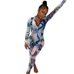 Chiclover Sexy Zipper Jumpsuit Women Tie Dye Print Bodysuit Casual Tracksuit one Piece Outfit Patchwork Trouser Romper Wholesale