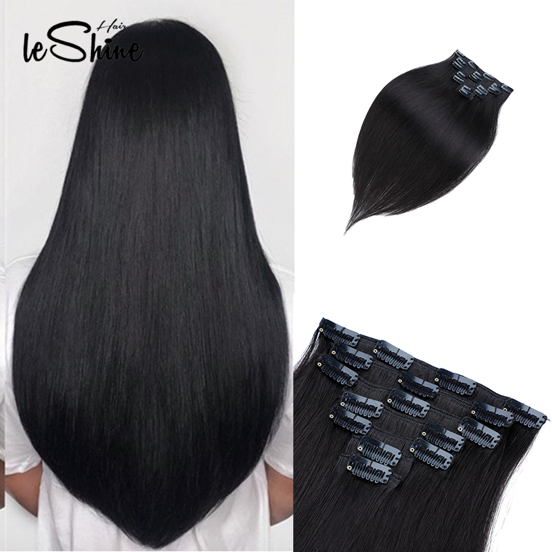 Leshine Remy Straight Clip In Human Hair Extensions 14''16''18'' 100% Human Hair Clips In Hair Extensions 7PCS/set Black Color