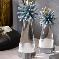 Natural Blue Crystal Stone Flower Shape Figurines Home Decor Accessorie Crafts Figurines Cone Crystal Ornaments Birthday Gift