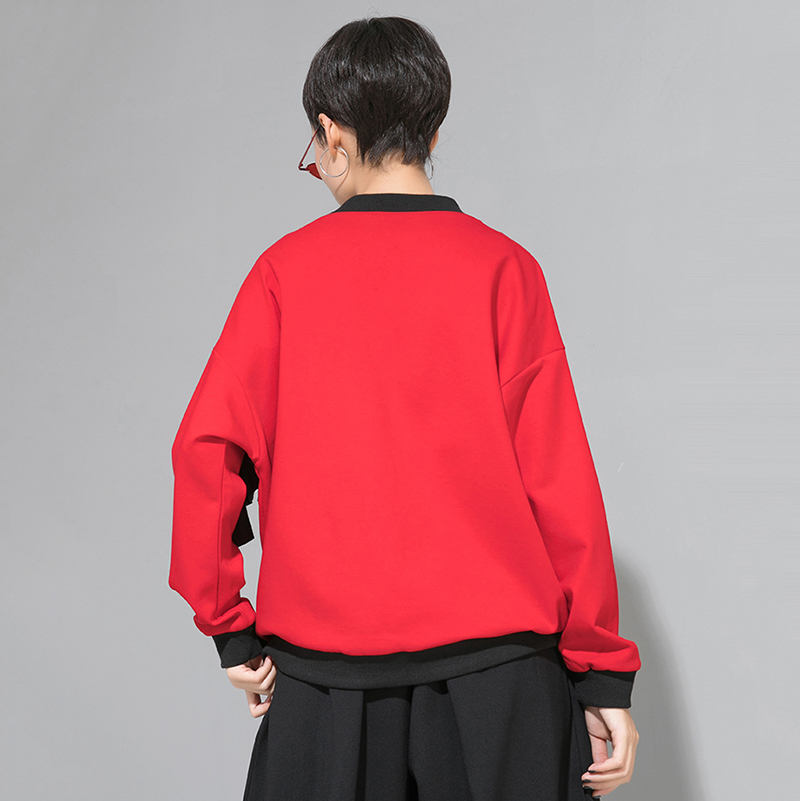 [EAM] Women Loose Fit Mesh Ruffle Spliced Big Size T-shirt New Round Neck Long Sleeve Fashion Tide Spring Autumn 2020 1A937 6