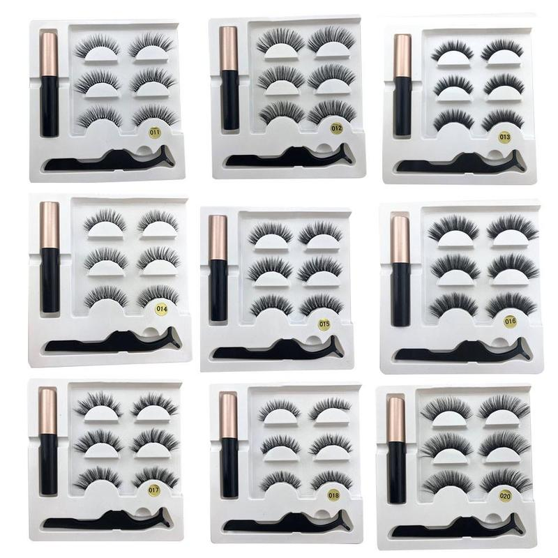 3pair Magnetic Eyelashes 3D Faux Mink Eyelashes Magnet Lashes Magnetic Liquid Eyeliner Magnetic False Eyelashes +tweezer Set Hot