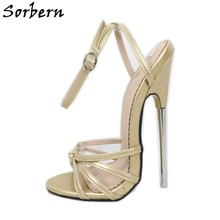 Sorbern Gold Metal High Heel Sandal Ladies 18Cm Slingback Summer Party Heels Ankle Strap Drag Queen Party Shoe More Colors(China)