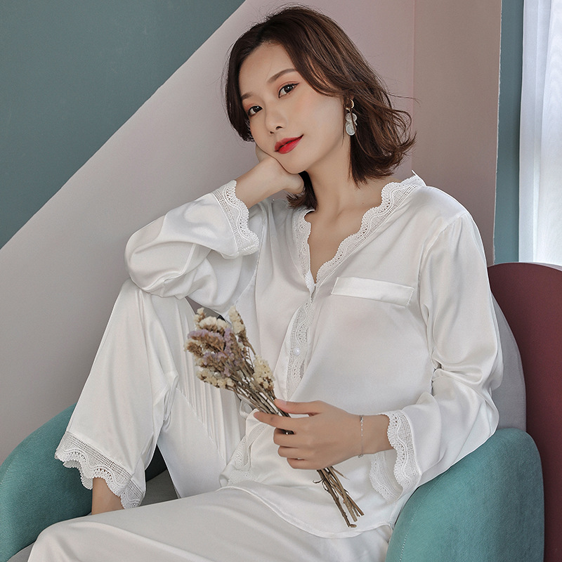 White pajamas women's satin spring and summer cardigan long sleeve pajamas court wind ice silk thin section home service suit