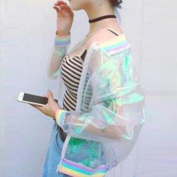 Jacket Rainbow Bomber Clear Iridescent Symphony Hologram Basic Coat Laser Transparent Nice High Quality