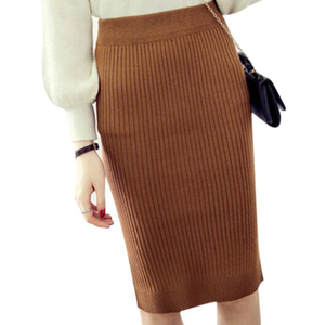 Image 4 - Womens Pencil skirt New Knitted Autumn Winter Thick High Waist Women Skirts Female Young Girl Cold Large Size Japan Falda
