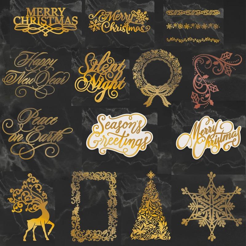 Merry Christmas Word HOT FOIL PLATE Silver Metal Cutting Dies DIY Photo Embossing Die Cut Scrapbooking Leaf Frame Stencils