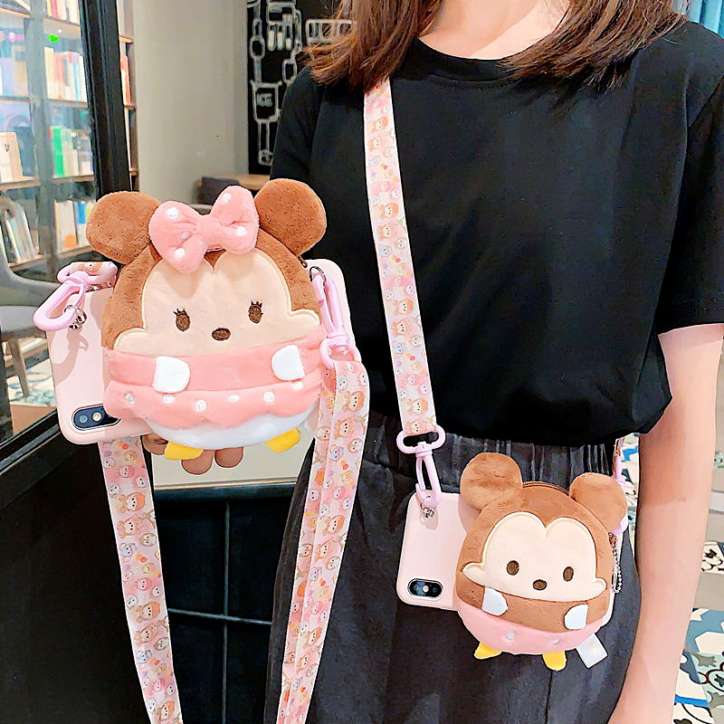 3D Cute Cartoon Plush Coin Wallet Crossbody <font><b>Case</b></font> For <font><b>Samsung</b></font> A70 <font><b>Case</b></font> A20 S6 <font><b>S7</b></font> S8 S10Plus A9 Soft <font><b>Silicone</b></font> Lanyard Strap Cover image