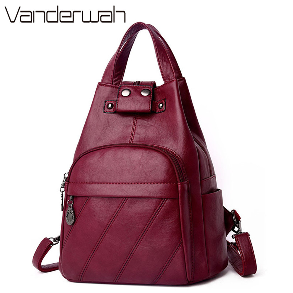 2019 Leather Women Anti Theft Backpack Female Ladies Travel Backpack Classic Sac A Dos School Shoulder Bags For Teenage Girls