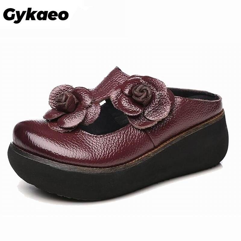 Gykaeo été pantoufles femme en cuir véritable chaussures à la main fleurs diapositives tongs plate-forme sabots pour les femmes babouches