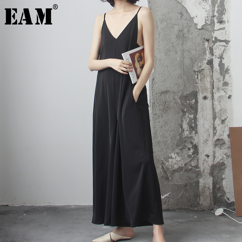 [EAM] Loose Fit Women Black V-neck Long Jumpsuit New High Waist Pocket Stitch  Pants Fashion Tide Spring Autumn 2020 1R194
