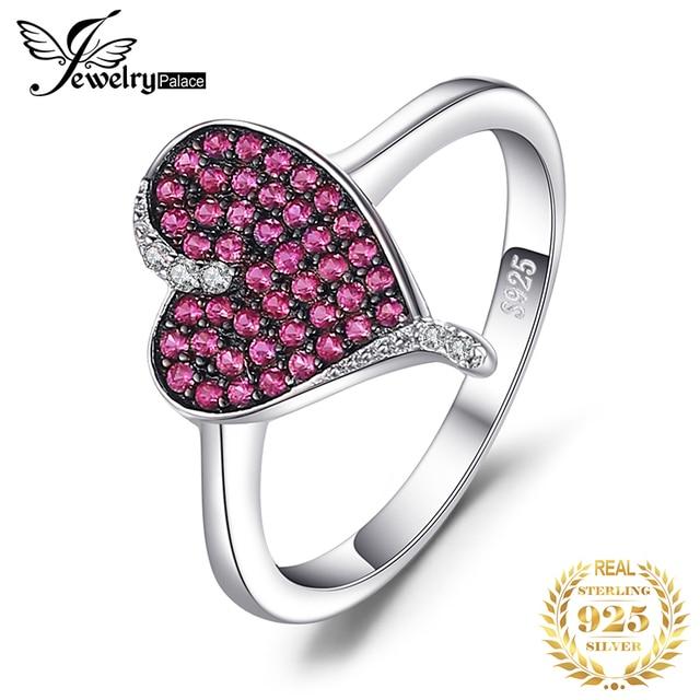 JewelryPalace kalp 0.3ct oluşturulan yakut taşlı yüzük 925 ayar gümüş kalp aşk nişan yüzüğü yeni varış özel kadınlar için