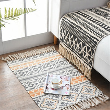 Alfombras tejidas a mano de lino de algodón decorativo para el hogar bohemio alfombra geométrica para el suelo dormitorio sala de estar alfombra con borlas decoración del hogar