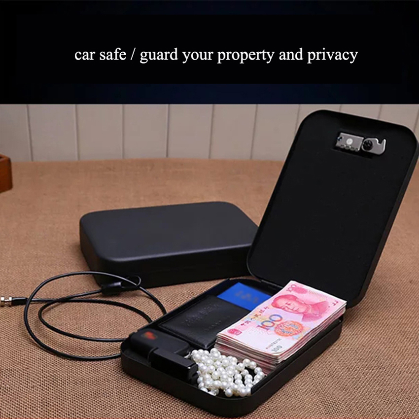 Portable All Steel Password Car Safe Box Money Jewelry Money Safe Case For Home Valuables Password Box Security Storage Boxes