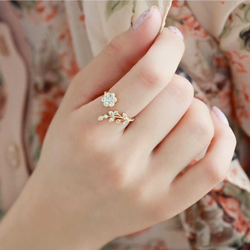 Zircon ดอกไม้ Rose Gold ปรับแหวนสำหรับผู้หญิงที่ละเอียดอ่อน Cubic Zirconia แหวนแฟชั่นผู้หญิงเครื่องประดับอุปกรณ์เสริม