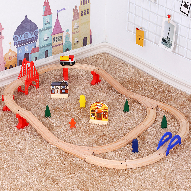 Usual Wooden Tracks Train Set Toy Railway Magic Brio Wood Puzzles Educational Toys For Children's Birthday Present Boys Kids Toy