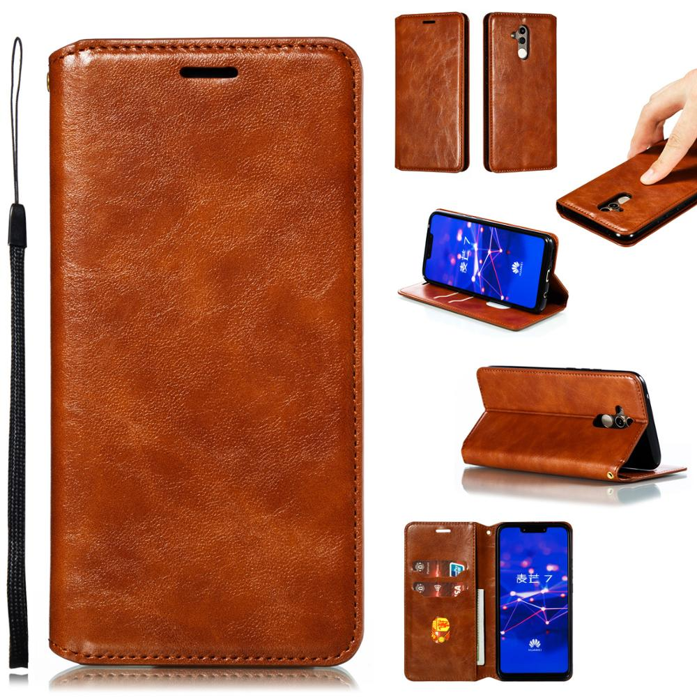 For <font><b>Huawei</b></font> <font><b>Y5</b></font> Y6 <font><b>2018</b></font> Y7 Y9 2019 Retro <font><b>Leather</b></font> <font><b>Case</b></font> Card Slot Magnetic Phone Cover Holder Phone Bag image