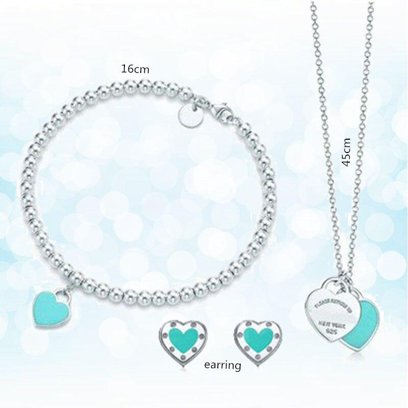 Argent Sterling 925 classique populaire original mode bleu en forme de coeur charme dames collier trois pièces bijoux