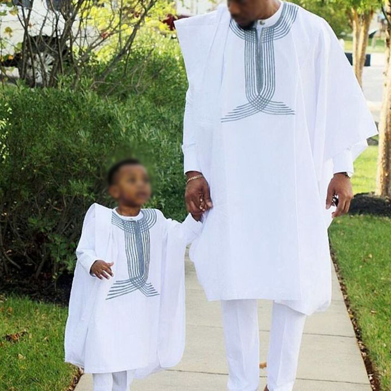 Father Son Boy Kid Child Suits Dashiki Men African Clothes Africain Africa Mens Clothing Outfit Suit 3 Pieces Set  Plus Size