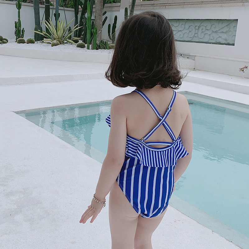 New Products Girls Triangular One-piece Swimming Suit Navy Stripes Children GIRL'S Swimwear Small Children Bikini