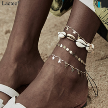 Lacteo 4 Pcs/set Bohemian Star Pendant Anklet for Women Statement 2019 Fashion Natural Shell Chain Charm Female Jewelry