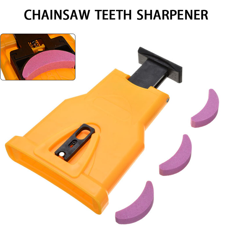 Woodworking Chainsaw Teeth Sharpener Tool Yellow Chainsaw Saw Chain Abrasive With 3Pcs Sharpening Stone Portable Grinder Tool
