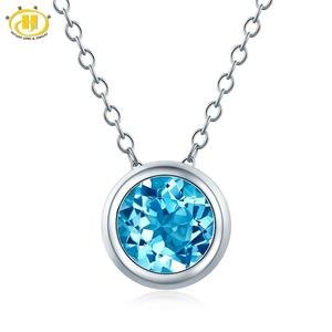 Image 1 - Hutang 1.65ct Blue Topaz Womens Pendant, Solid 925 Sterling Silver Chain Natural Gemstone Fine Elegant Jewelry for Gift New