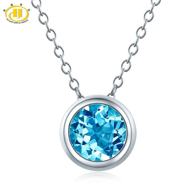 Hutang 1.65ct Blue Topaz Womens Pendant, Solid 925 Sterling Silver Chain Natural Gemstone Fine Elegant Jewelry for Gift New