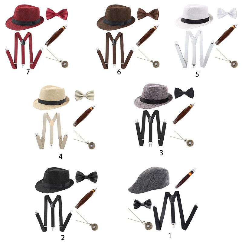 1920s Mens Cosplay Gangster Costume Accessories Set Manhattan Hat Suspenders Pre-Tied Bow Tie Fake Plastic Cigar Pocket Watch