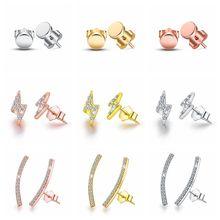 925 Sterling Silver Stud earrings Clear Cubic Zircon Circle, lightning, geometry Square Stud Earrings For Women Jewelry gift A30