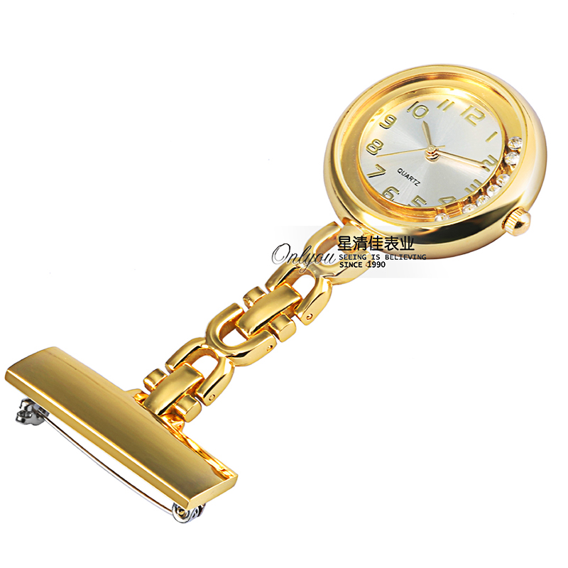 Luxury Women Nurse Watch Crystal Gold Silver Brooch Clip-on Pin Steel Quartz Pocket Fob Watch For Medical Paramedic Doctor Gift
