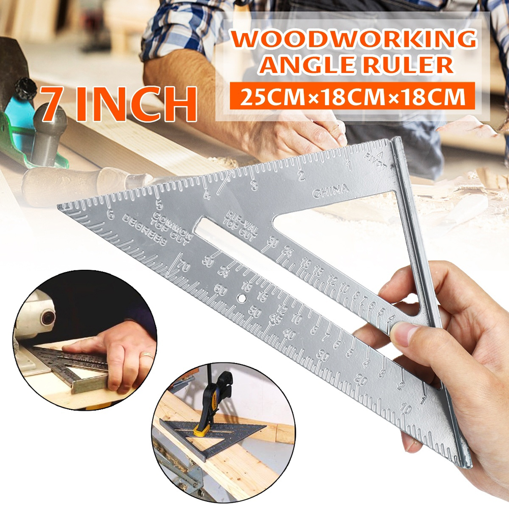 7inch Measurement Tool Square Ruler Aluminum Alloy Speed Protractor Miter For Carpenter Tri-square Line Scriber Saw Guide