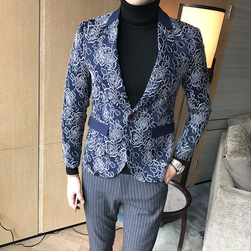Classic Jacquard Suit Men Jacket Slim Design Business Banquet Men Blazer Jackets Asian Size XXXL  4XL  5XL Flower Dress Suit Men