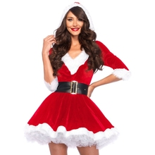 HIRIGIN Miss Claus Dress Suit Ladies Stage Performance Theme Party Cosplay Santa