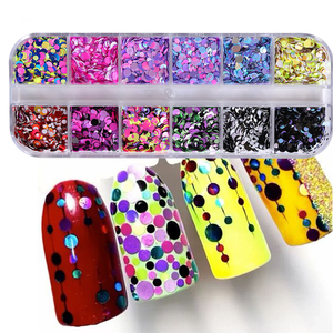 Image 1 - 1Set Colorful Nail Glitter Sequin Dust Round Shiny Nail Flakes Mixed Size UV Gel Manicure Tips Paillette Nail Art Decor LAD 1