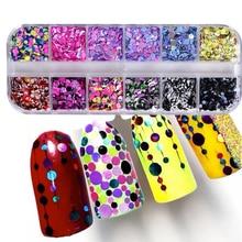 Paillettes colorées sur les ongles, 1 lot de poussière ronde brillante, pour manucure, Gel UV, tailles variées, Nail Art, décor