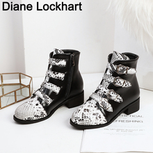 Boot Women Round Toe Rivet Boots Punk Studded Snake print Leather Ankle Boots Woman Botines Luxury Brand Botas Mujer 2019 prova perfetto punk style women ankle boots special two kinds of wear rivet studded martin boots lace up genuine leather botas