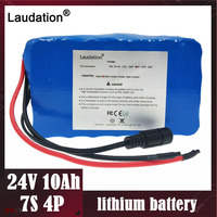 Laudation 전기 자전거 배터리 24V 10ah 15A BMS 7s 250W 29.4V 10000mAh 18650 배터리 팩 모터 전자 자전거 전력